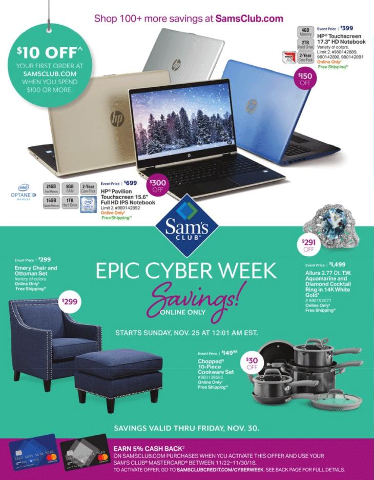 Sam's Club Cyber Monday 2018 Page 1