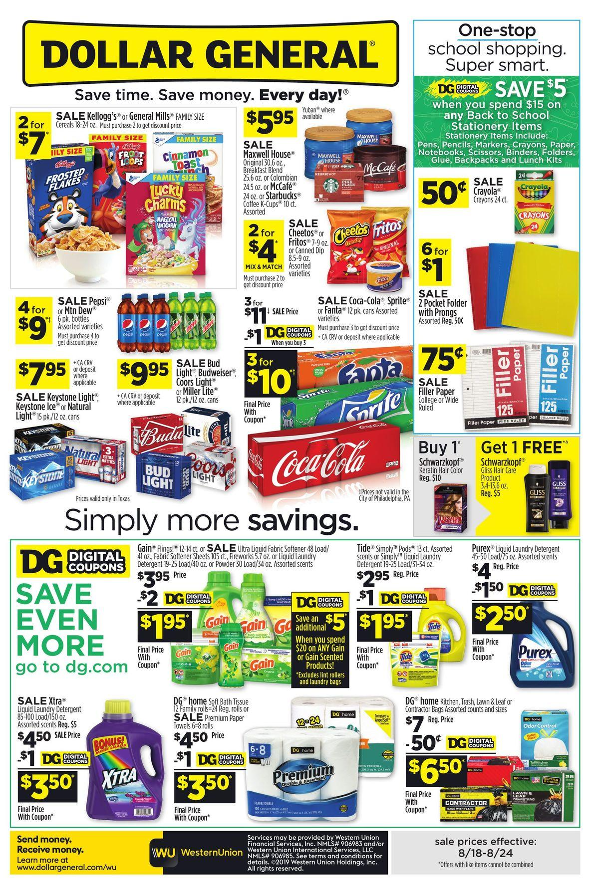 Dollar General Weekly August 18 - 24, 2019 Page 1