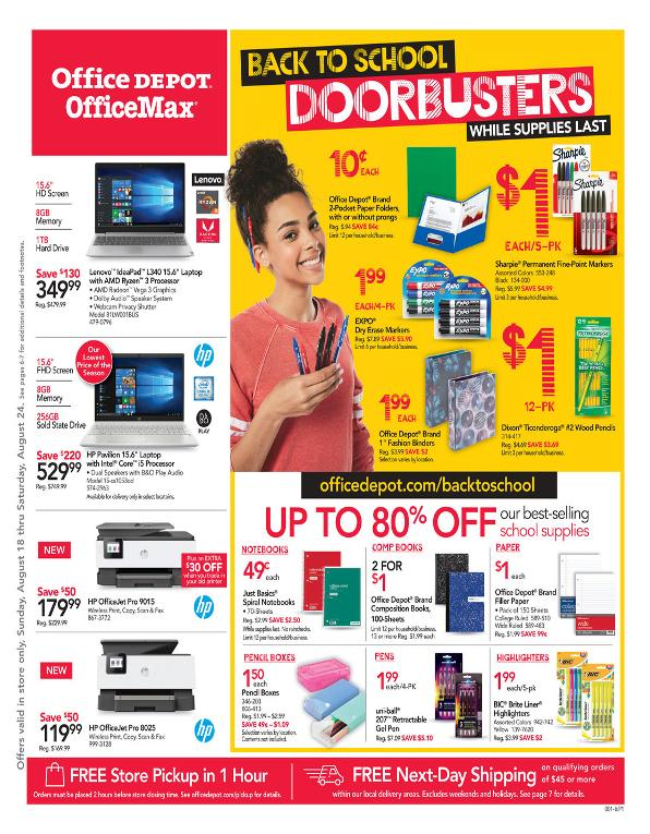 Office Depot and OfficeMax Weekly August 18 - 24, 2019 Page 1
