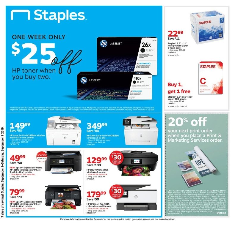 Staples Weekly September 1 - 7, 2019 Page 1