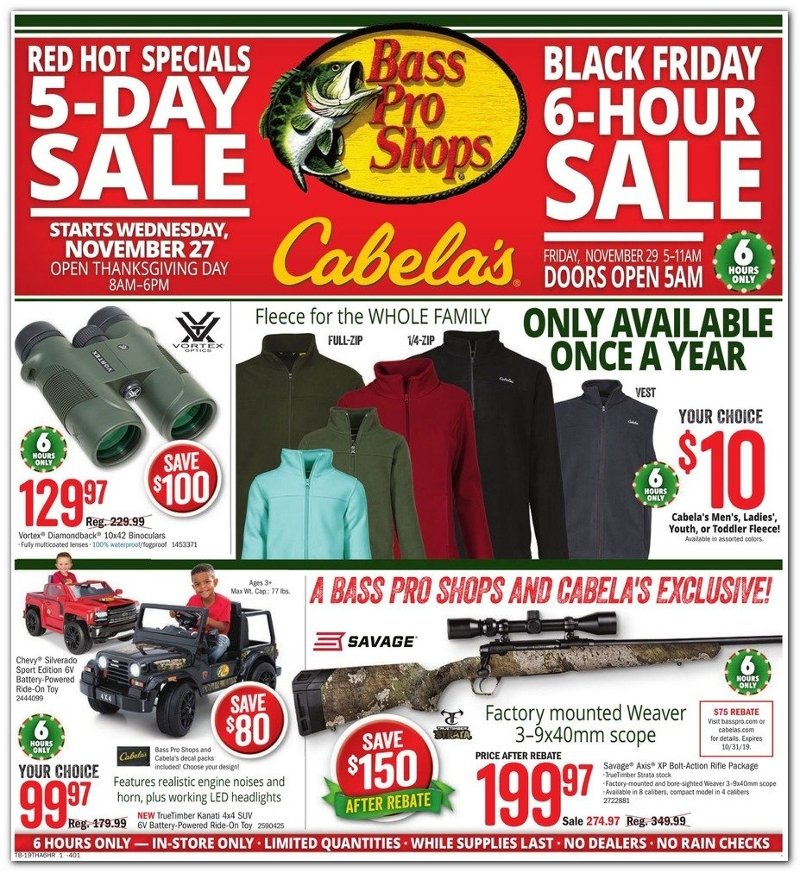 Bass Pro Shops and Cabela's Black Friday 2019 Page 1
