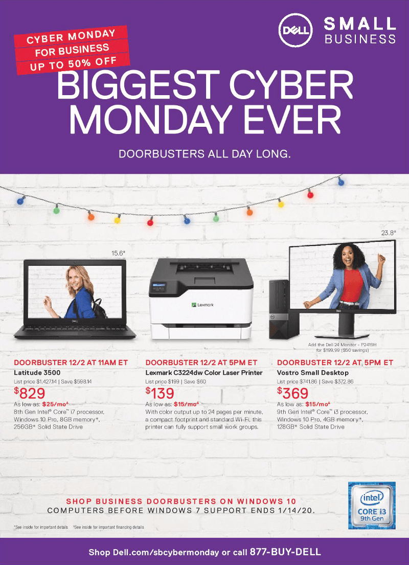 Dell Small Business Cyber Monday 2019 Page 1