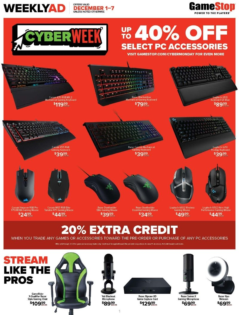 GameStop Cyber Monday 2019 Page 1