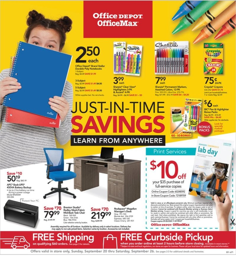 Office Depot and OfficeMax Weekly September 20 - 26, 2020 Page 1