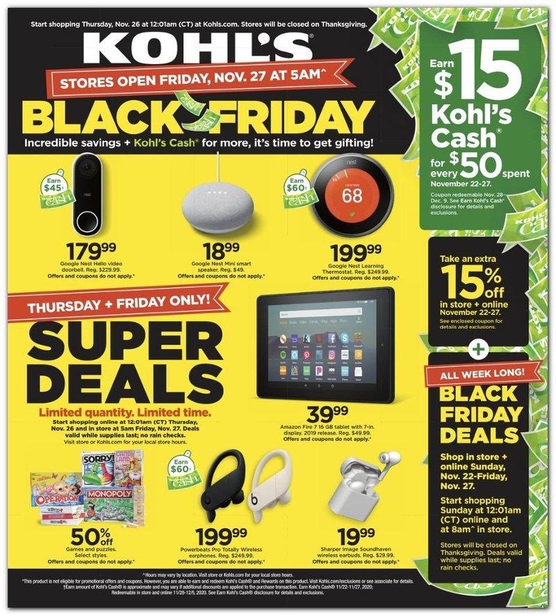 Kohl's Black Friday Super Deals 2020 Page 1