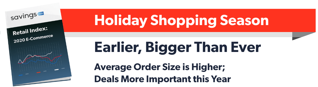 Savings.com Retail Index: 2020 E-Commerce Holiday Shopping Season Earlier, Bigger Than Ever