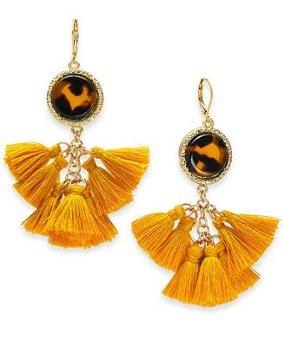 I.N.C. Gold-Tone Tortoise-Look Multi-Tassel Drop Earrings