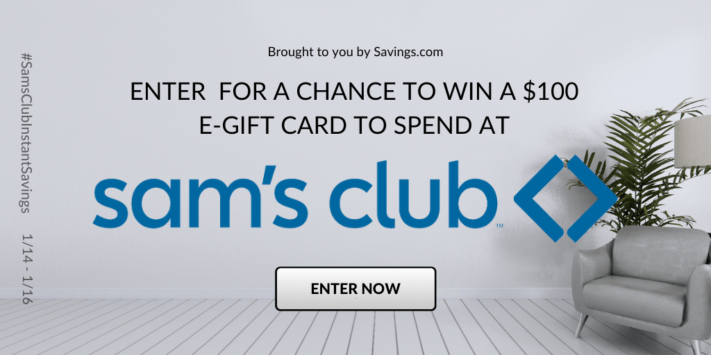 Win a $100 e-gift card to spend at Sam's Club.